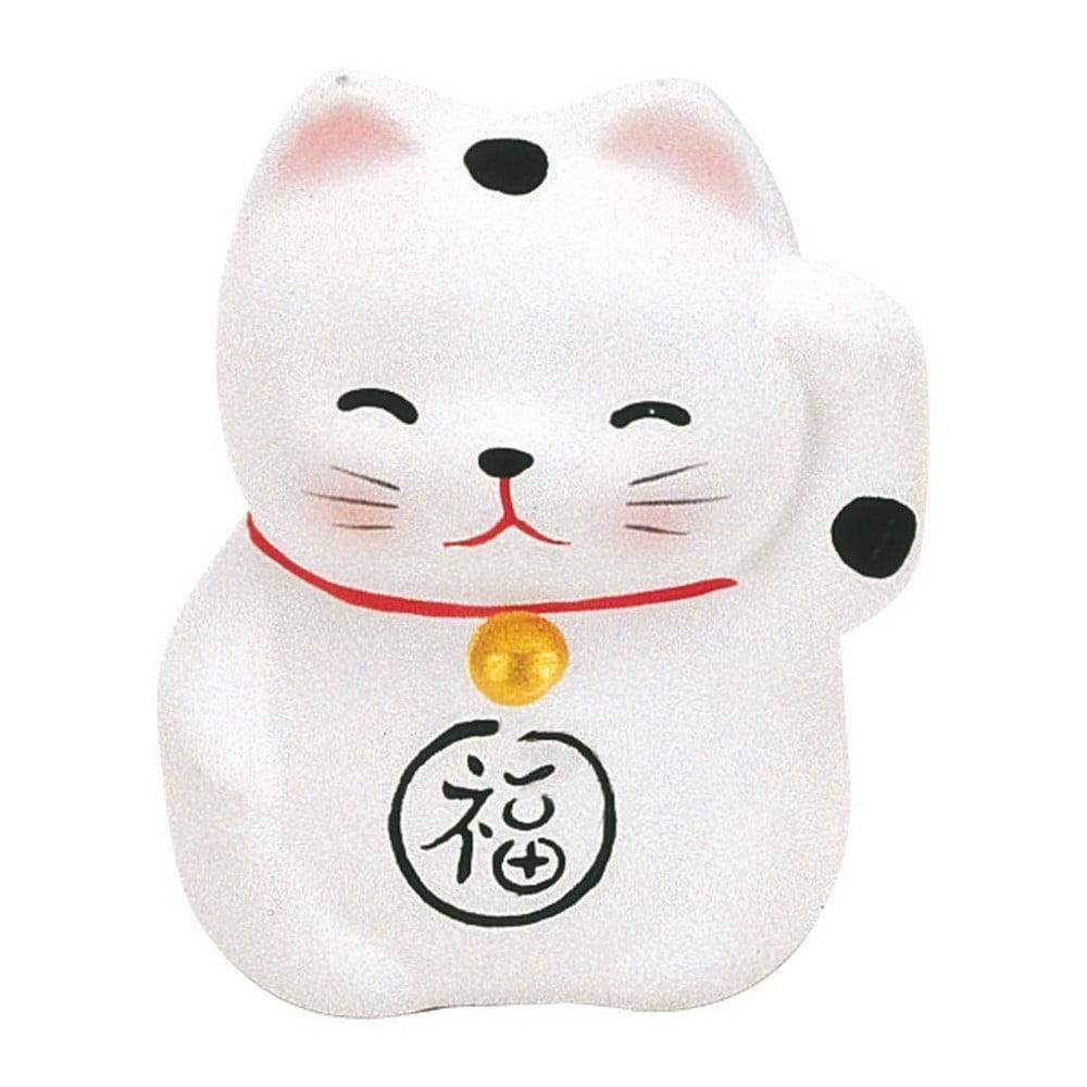 Bílá keramická dekorace ve tvaru kočky TokyoDesignStudio Lucky Cat, výška 5,2cm