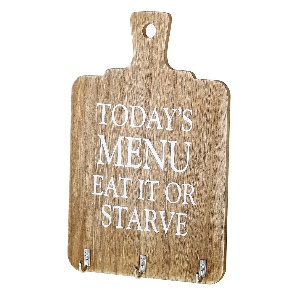 Fotografie Nástěnná dekorace ze dřeva s háčky Unimasa Eat It or Starve