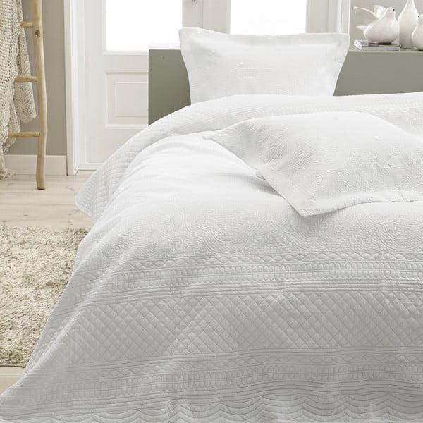 Bílý přehoz přes dvoulůžko se dvěma povlaky na polštář z mikroperkálu Sleeptime Charlene 260x250cm