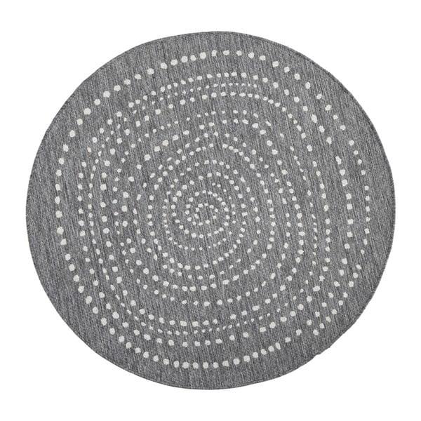 Szary okrągły dywan dwustronny odpowiedni na zewnątrz Bougari Bali, Ø 140 cm