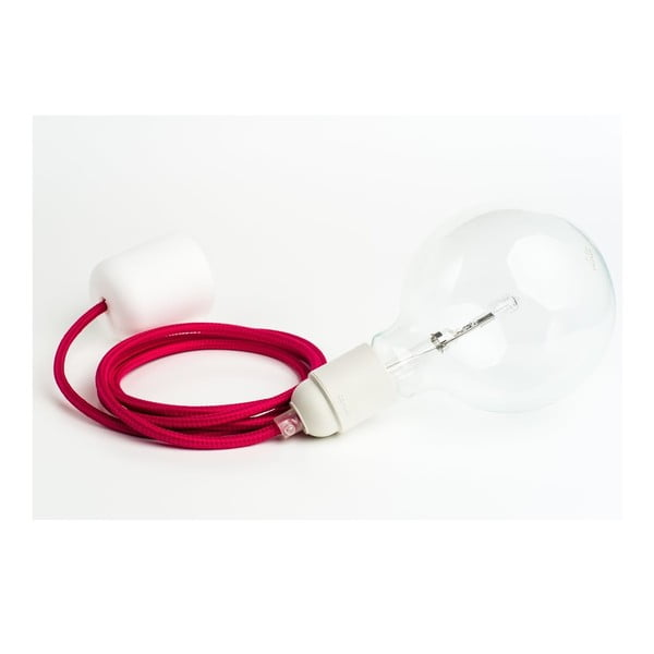 Barevný  kabel Loft se žárovkou, malina