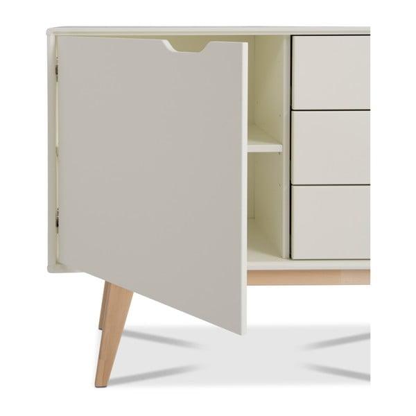 Bílá ručně vyráběná komoda z masivního březového dřeva Kiteen Kolo, 75x101cm