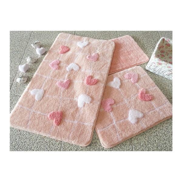 Sada 3 kúpeľňových podložiek Kalbim Pink