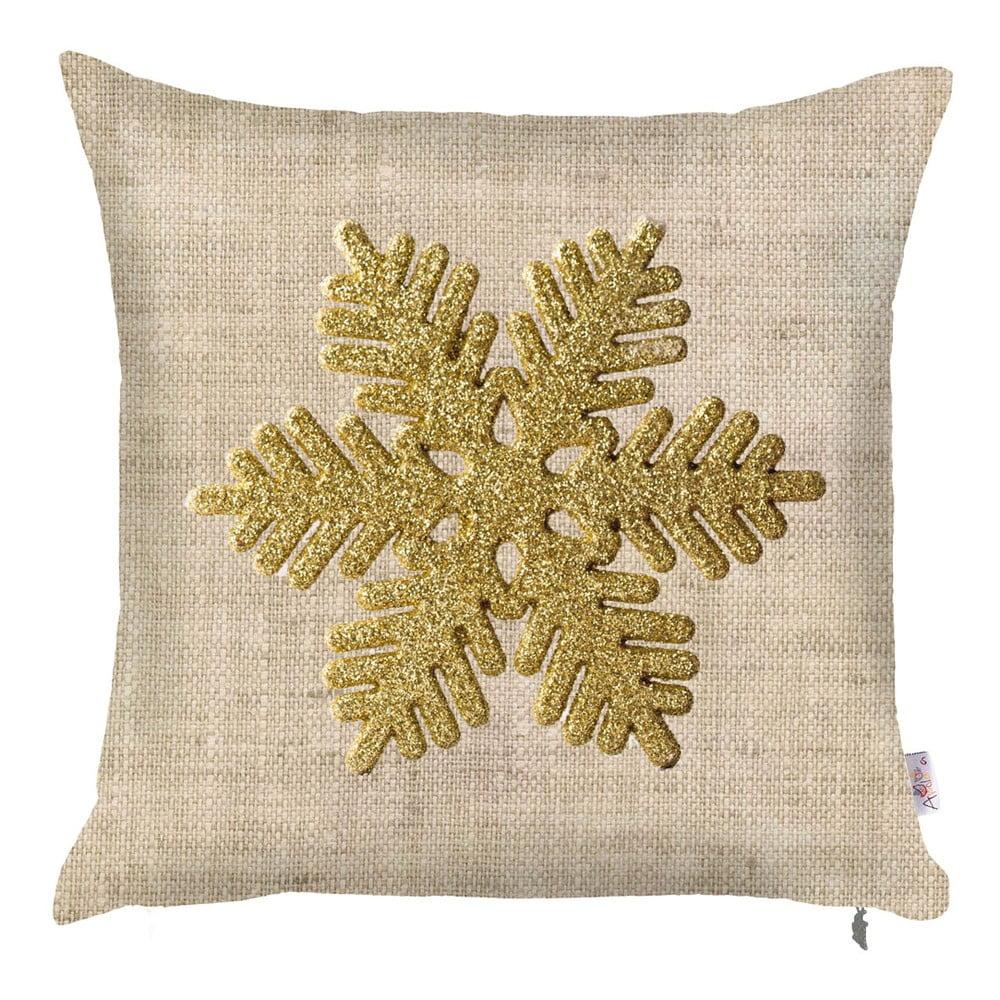 Vánoční povlak na polštář Apolena Honey Snowflake, 43x43cm