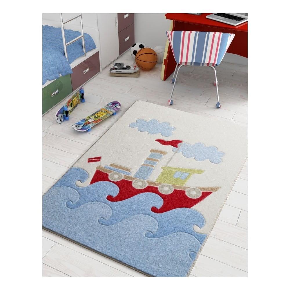 Dětský modrý koberec Confetti Baby Ship, 100 x 150 cm