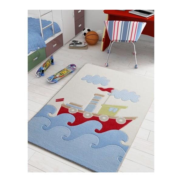 Detský modrý koberec Confetti Baby Ship, 100×150 cm
