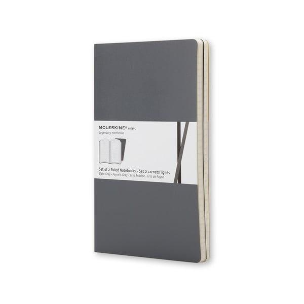Sada 2 notesů Moleskine Volant 21x13 cm, šedá