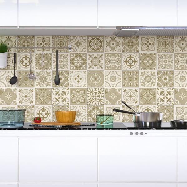 Sada 60 nástenných samolepiek Ambiance Wall Decal Cement Tiles Fortunato, 15×15 cm