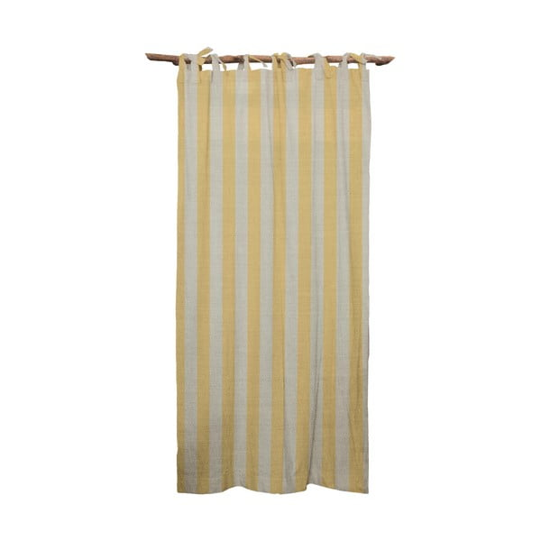 Žltý záves Linen Couture Cuture Cortina Hogar Yellow Stripes