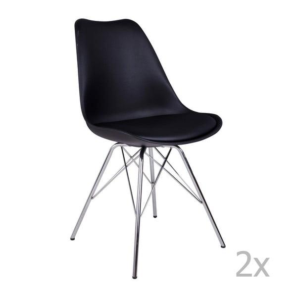 Set 2 scaune House Nordic Oslo Chrome, negru