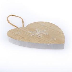 Dřevěné závěsné srdce Dakls Snowflake, 11 cm