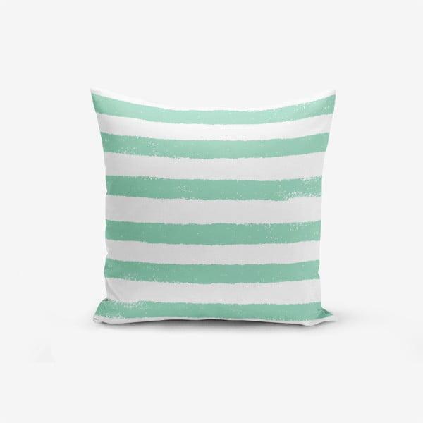 Față de pernă cu amestec din bumbac Minimalist Cushion Covers Su Green Striped Modern, 45 x 45 cm