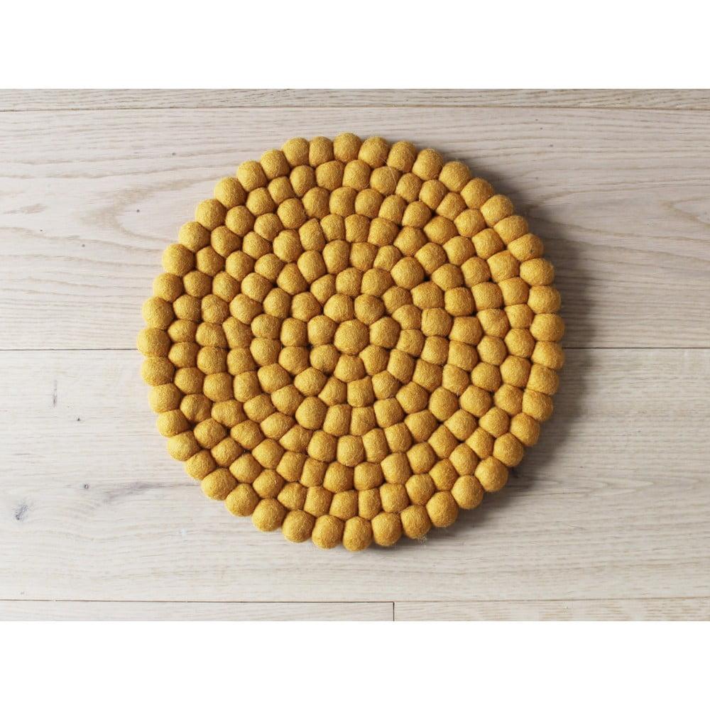 Hořčicově žlutý kuličkový vlněný dětský podsedák Wooldot Ball Chair Pad, ⌀ 30 cm