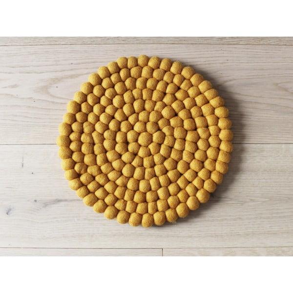 Pernă cu bile din lână, pentru copii Wooldot Ball Chair Pad, ⌀ 30 cm, galben muștar