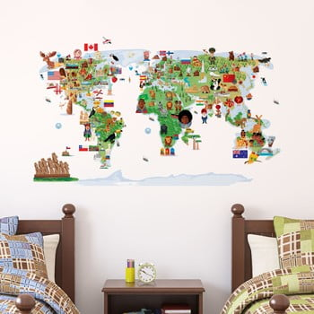 Autocolant de perete Ambiance Ethnic World Map de la Ambiance