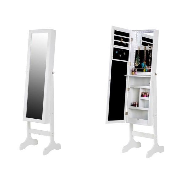 Dulăpior pentru bijuterii cu oglindă și LED Chez Ro Bien, alb