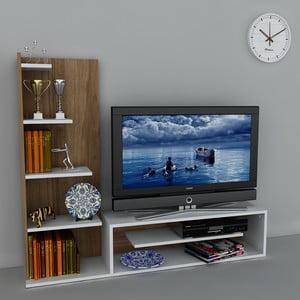 Televizní stěna Sleek White/Walnut, 29,5x160x121,8 cm