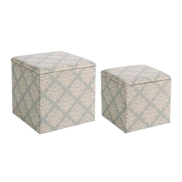Set 2 taburetek s úložným prostorem  Arabesque Grey