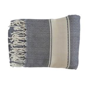 Prosop țesut manual din bumbac premium Elmas, 100 x 80 cm, albastru închis