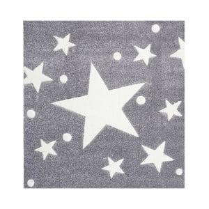 Šedý dětský koberec Happy Rugs Star Constellation 140x140cm