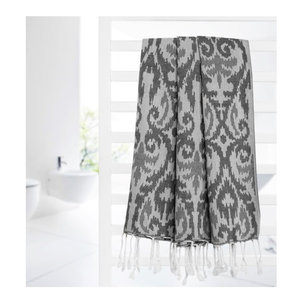 Tmavě šedá hammam osuška z bavlněných a bambusových vláken Begonville Legacy, 180x95cm