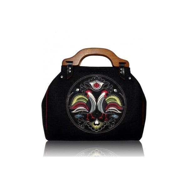 Plstěná vyšívaná kufříková kabelka New Folk Black