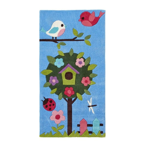 Covor țesut manual Think Rugs Tree Hong Kong, 70 x 140 cm, albastru