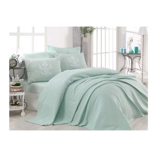 Turro Mint kétszemélyes világoszöld pamut ágytakaró lepedővel és 2 db párnahuzattal, 200 x 235 cm