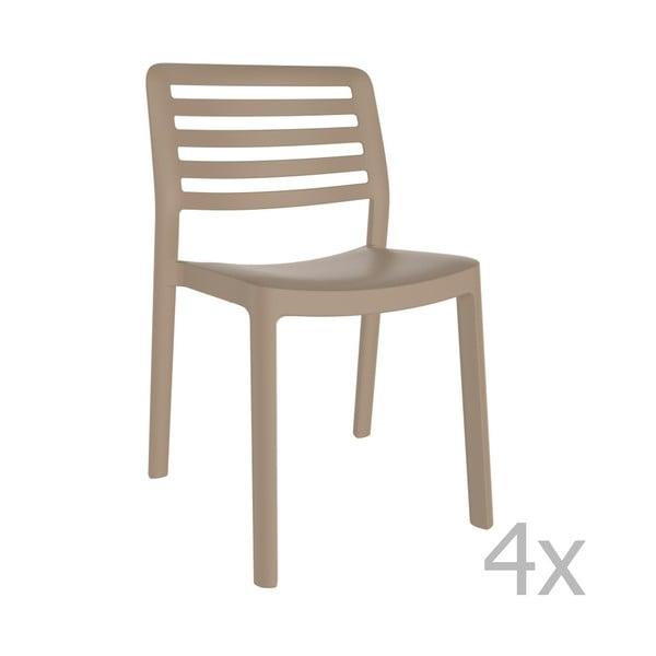 Sada 4 pískově hnědých zahradních židlí Resol Wind
