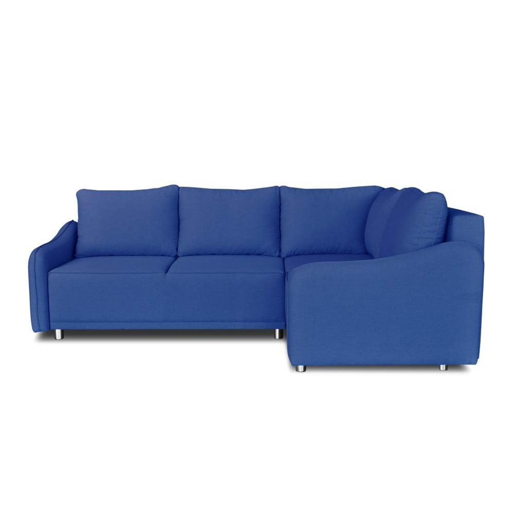Modrá rohová rozkládací pohovka Windsor & Co. Sofas Delta, pravý roh