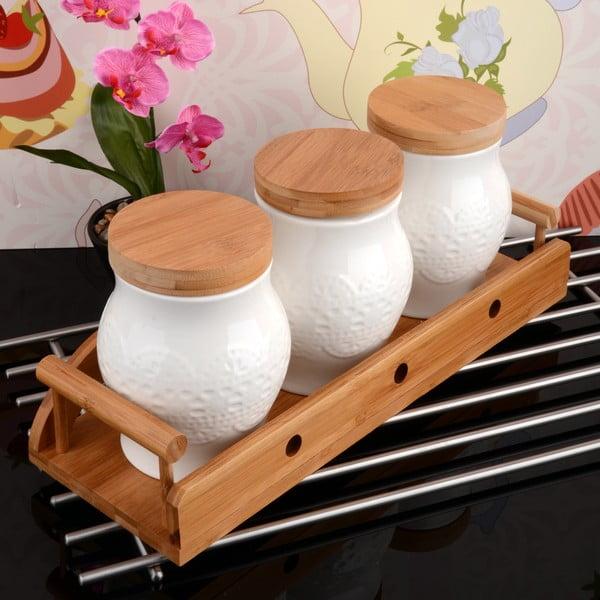Bambusový stojan se 3 dózami Bamboo