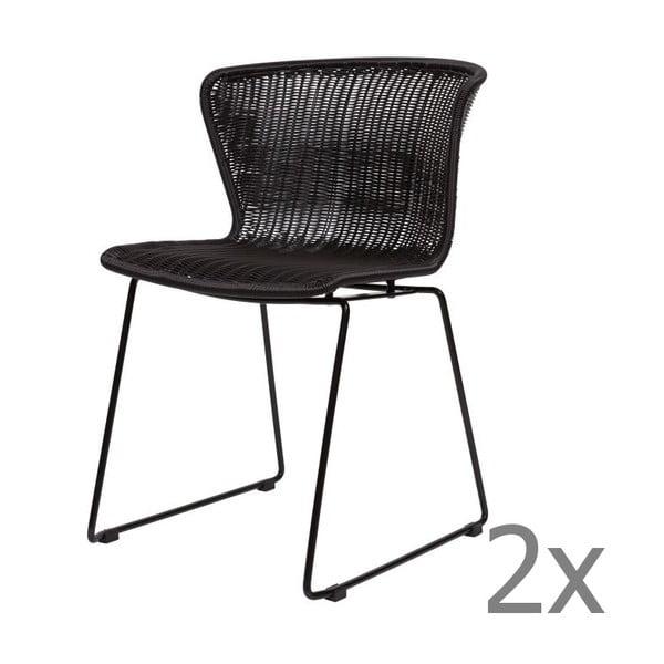 Wings Black fekete székkészlet, 2 darab - WOOOD