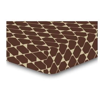 Cearșaf cu elastic, din microfibră DecoKing Rhombuses, 140 x 200 cm, maro