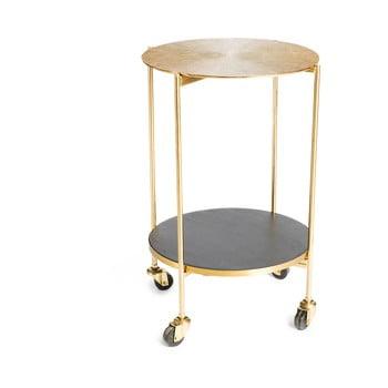 Măsuță cu roți și structură metalică Simla Trolley, auriu