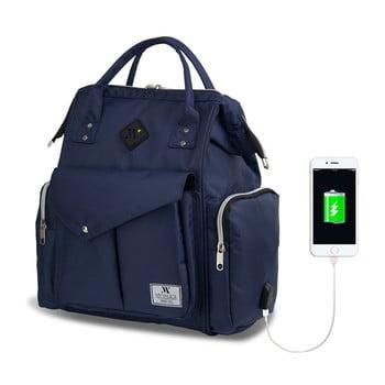 Rucsac maternitate cu port USB My Valice HAPPY MOM Baby Care, albastru închis imagine