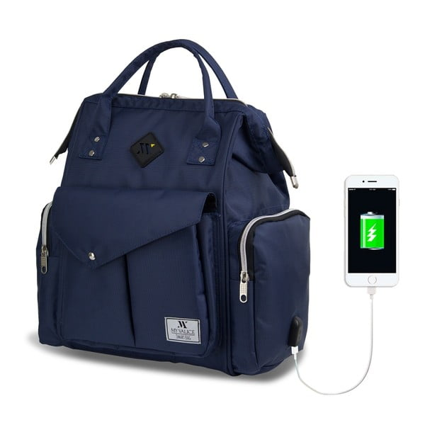 Tmavomodrý batoh pre mamičky s USB portom My Valice HAPPY MOM Baby Care Backpack