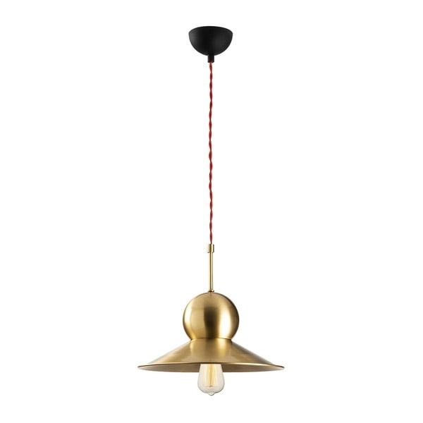 Lustră metalică cu abajur auriu Opviqlights Stathis, negru