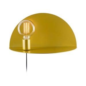 Hořčicově žlutá nástěnná lampa s poličkou Shelfie, výška 20 cm
