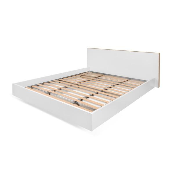 Bílá postel s hnědými hranami TemaHome Float, 160x200cm