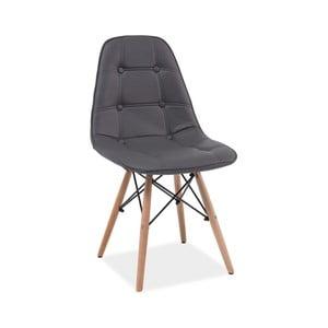 Šedá jídelní židle ze dřeva a ekokůže Signal Axel