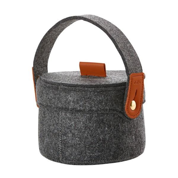 Úložný košík z filce s víkem Zone, tmavě šedý