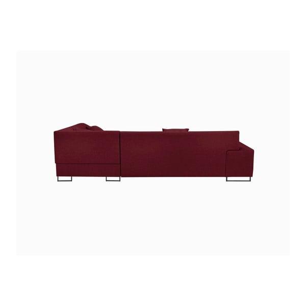 Červená rohová rozkládací pohovka s nohami v černé barvě Cosmopolitan Design Orlando, levý roh