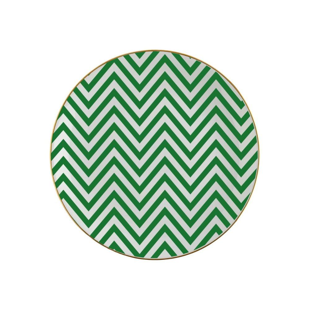 Zelenobílý porcelánový talíř Vivas Zig Zag, Ø23cm