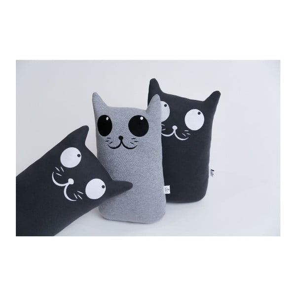 Polštářek Kočka, tm. šedý