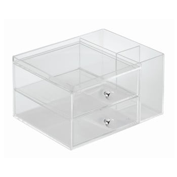 Organizator transparent cu 2 sertare iDesign, înălțime 18 cm imagine