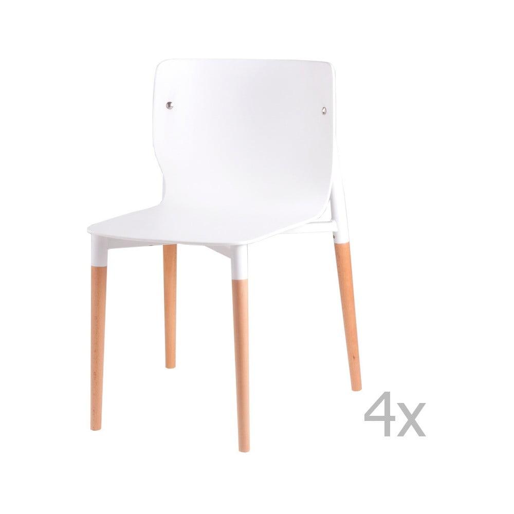 Sada 4 bílých jídelních židlí s dřevěnými nohami sømcasa Alisia