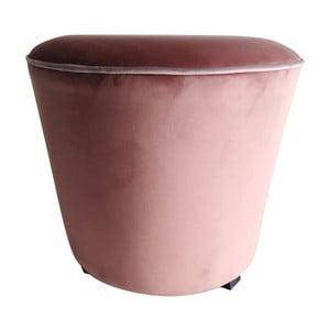 Růžový puf s nohami z borovicového dřeva Simla Velvet, ⌀45cm