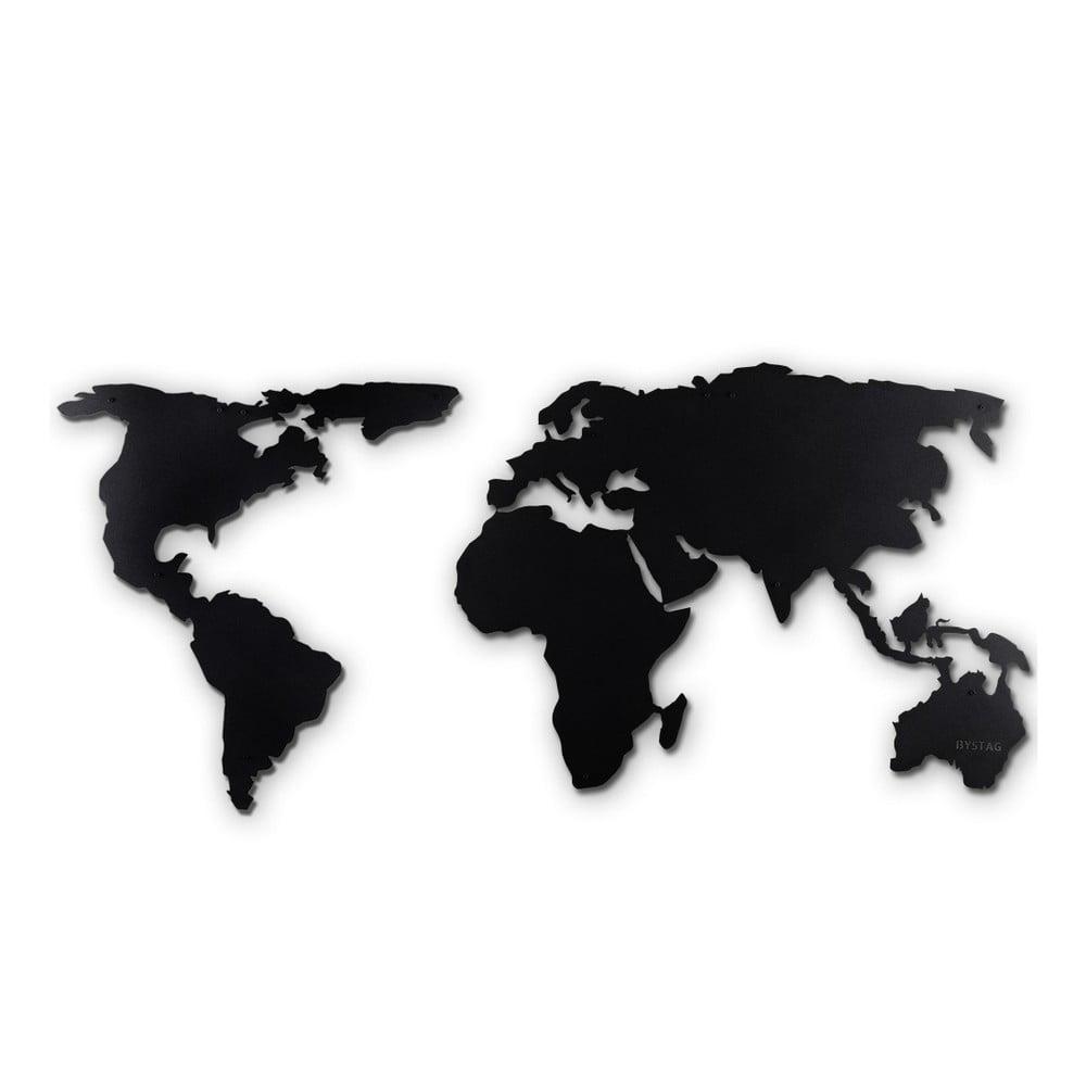 Fotografie Černá nástěnná kovová dekorace World Map XL Bonami