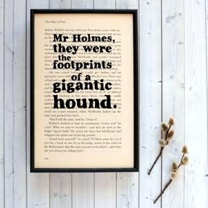 Plakát v dřevěném rámu Sherlock Holmes gigantic hound