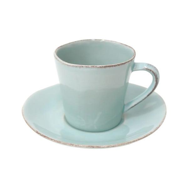Tyrkysový keramický šálek na čaj s podšálkem Ego Dekor Nova,190ml